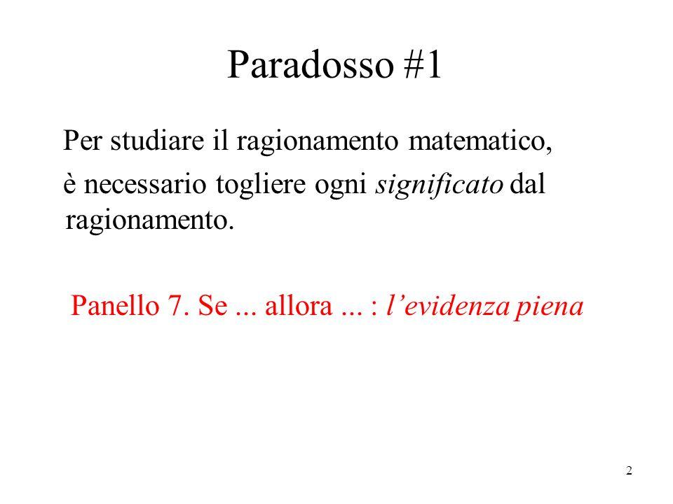 2 Paradosso #1 Per studiare il ragionamento matematico, è necessario togliere ogni significato dal ragionamento.