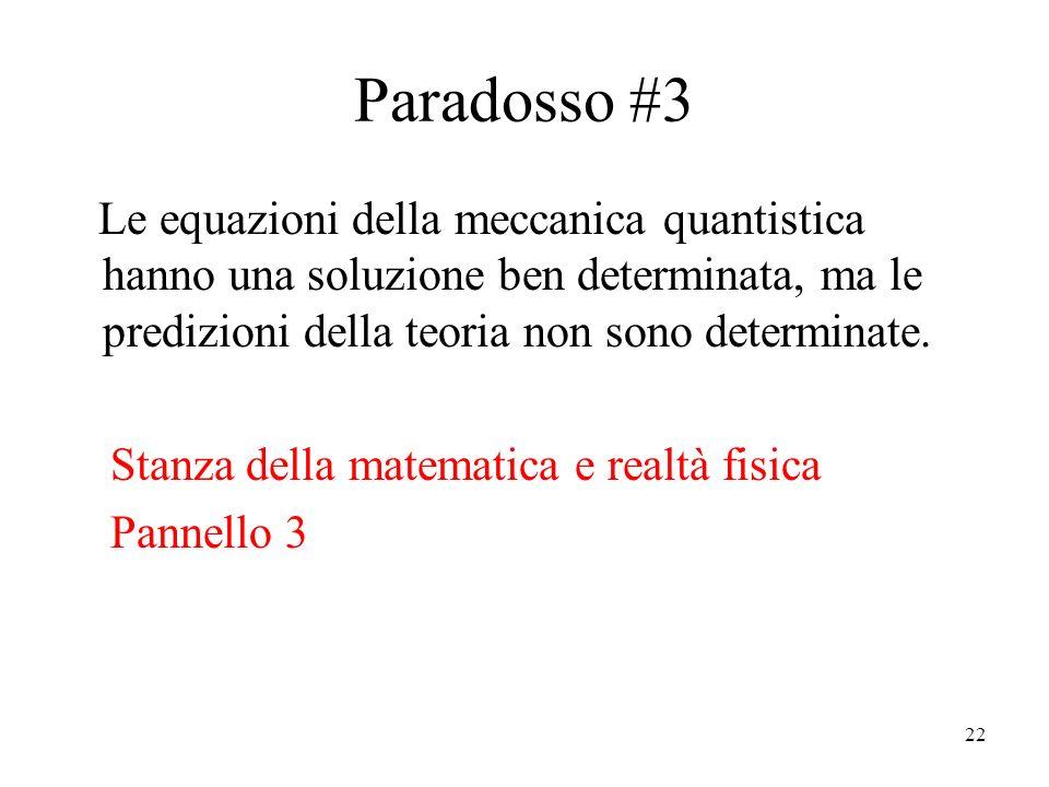 22 Paradosso #3 Le equazioni della meccanica quantistica hanno una soluzione ben determinata, ma le predizioni della teoria non sono determinate.