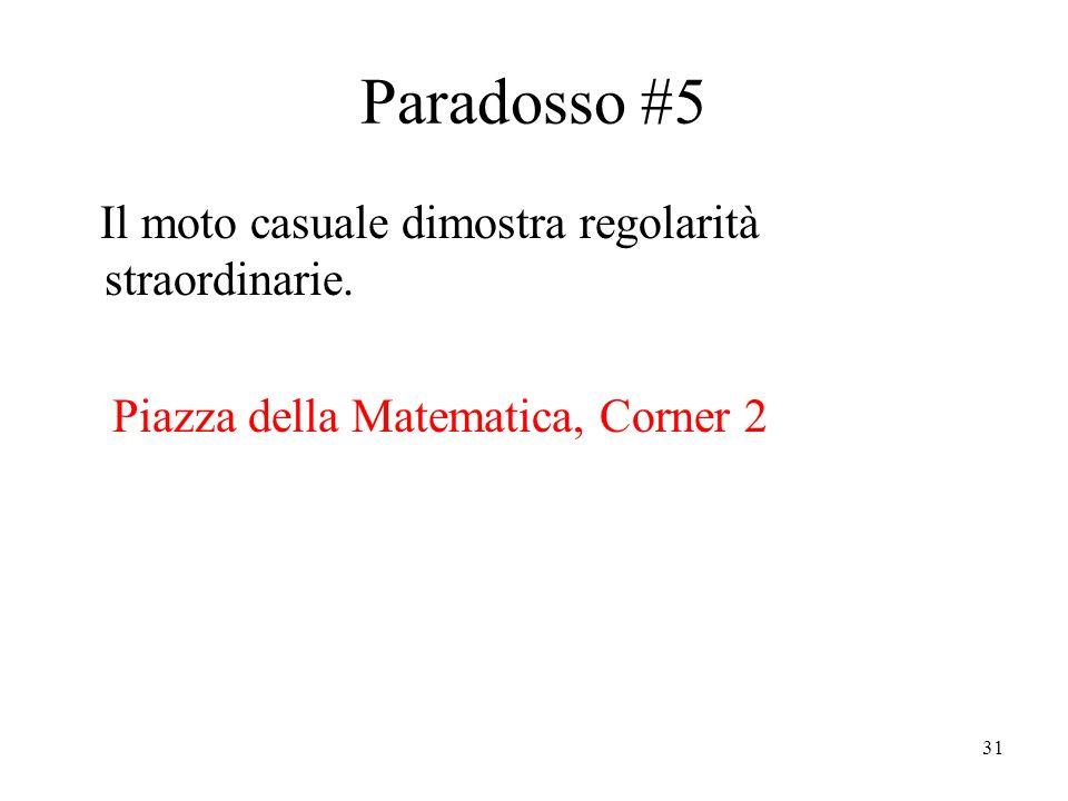 31 Paradosso #5 Il moto casuale dimostra regolarità straordinarie.