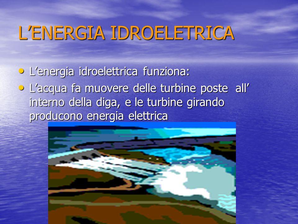 LENERGIA IDROELETRICA Lenergia idroelettrica funziona: Lenergia idroelettrica funziona: Lacqua fa muovere delle turbine poste all interno della diga,