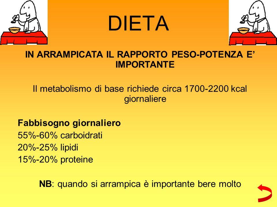 DIETA IN ARRAMPICATA IL RAPPORTO PESO-POTENZA E IMPORTANTE Il metabolismo di base richiede circa 1700-2200 kcal giornaliere Fabbisogno giornaliero 55%