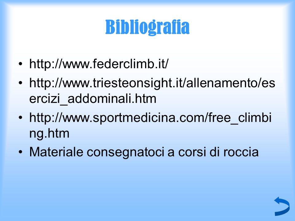 Bibliografia http://www.federclimb.it/ http://www.triesteonsight.it/allenamento/es ercizi_addominali.htm http://www.sportmedicina.com/free_climbi ng.h