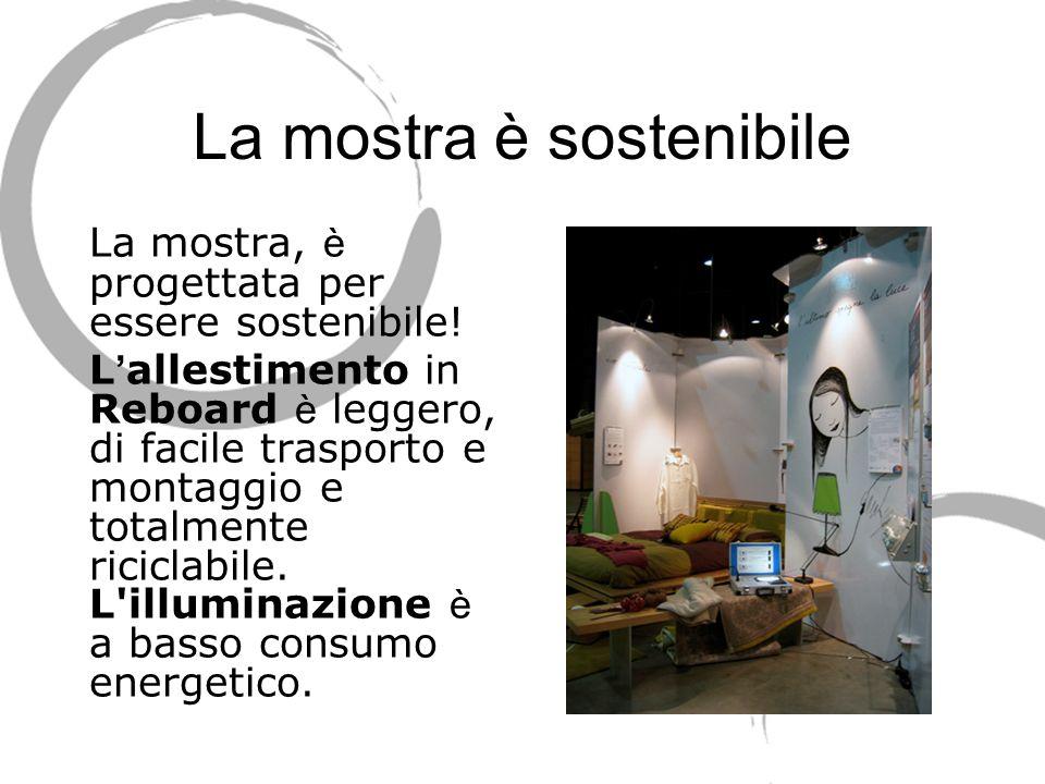 La mostra è sostenibile La mostra, è progettata per essere sostenibile! L allestimento in Reboard è leggero, di facile trasporto e montaggio e totalme