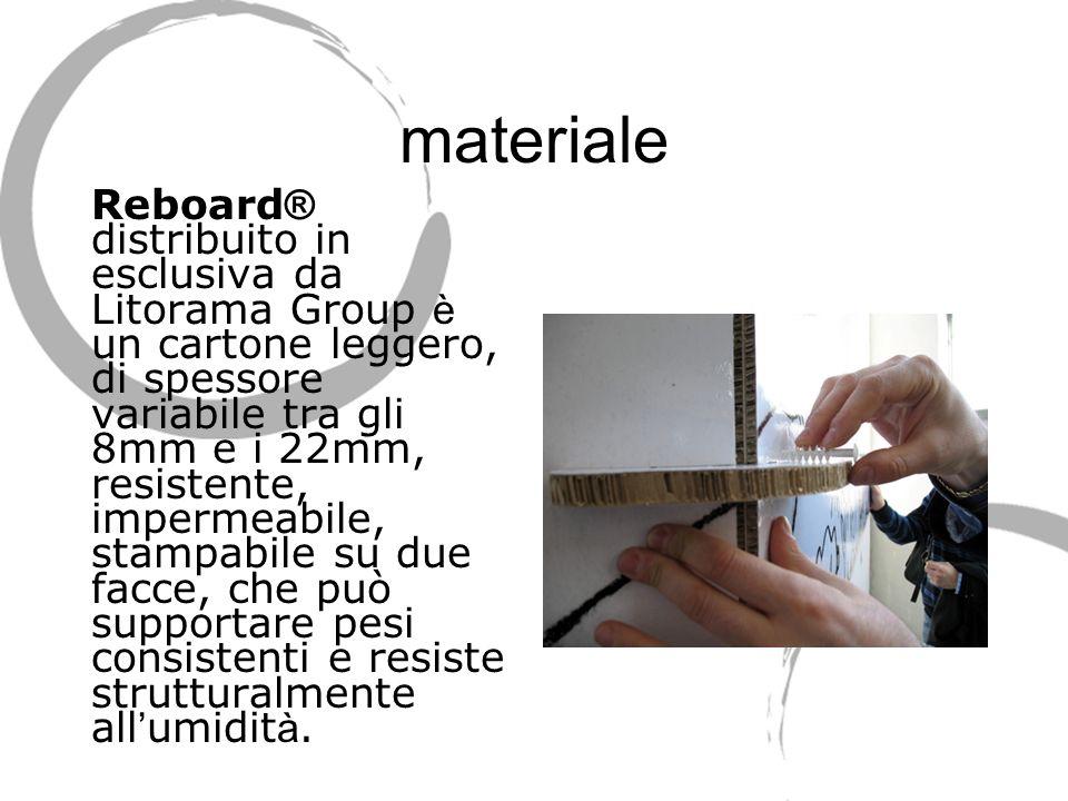 materiale Reboard ® distribuito in esclusiva da Litorama Group è un cartone leggero, di spessore variabile tra gli 8mm e i 22mm, resistente, impermeabile, stampabile su due facce, che può supportare pesi consistenti e resiste strutturalmente all umidit à.