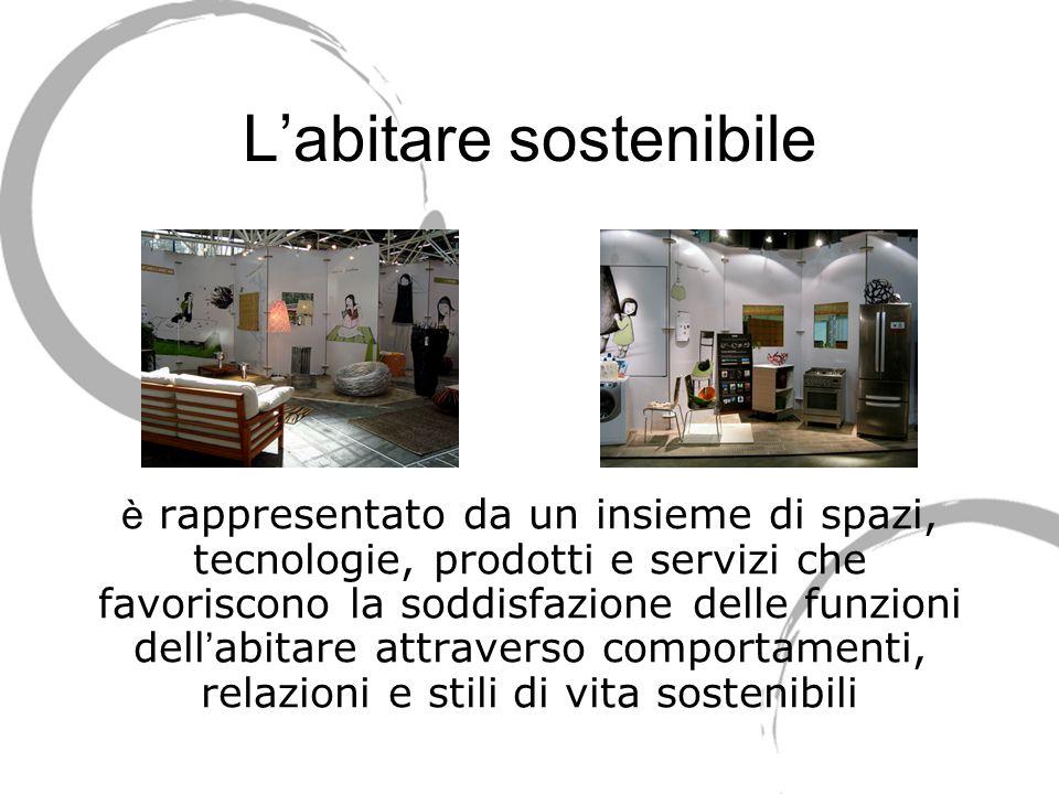 Labitare sostenibile è rappresentato da un insieme di spazi, tecnologie, prodotti e servizi che favoriscono la soddisfazione delle funzioni dell abita