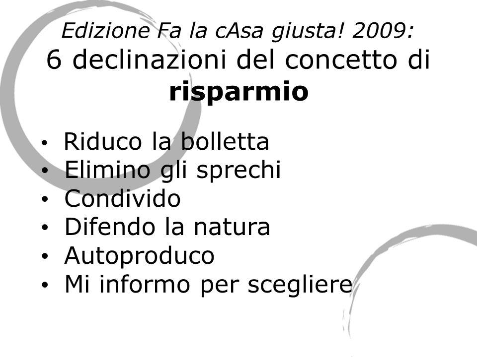 Edizione Fa la cAsa giusta! 2009: 6 declinazioni del concetto di risparmio Riduco la bolletta Elimino gli sprechi Condivido Difendo la natura Autoprod