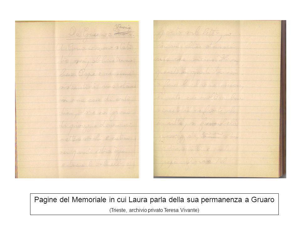 Pagine del Memoriale in cui Laura parla della sua permanenza a Gruaro (Trieste, archivio privato Teresa Vivante)