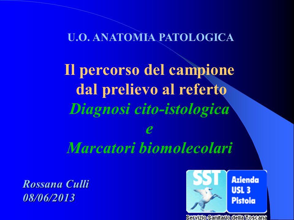 U.O. ANATOMIA PATOLOGICA Il percorso del campione dal prelievo al referto Diagnosi cito-istologica e Marcatori biomolecolari Rossana Culli 08/06/2013