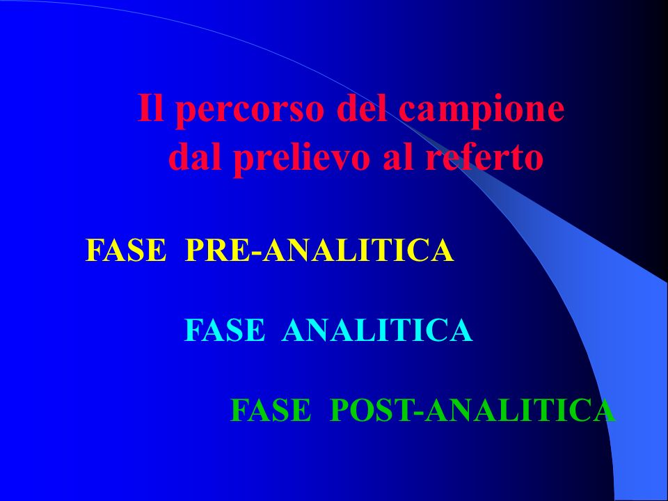 Il percorso del campione dal prelievo al referto FASE PRE-ANALITICA FASE ANALITICA FASE POST-ANALITICA