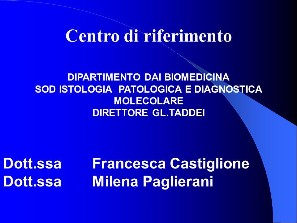 DIPARTIMENTO DAI BIOMEDICINA SOD ISTOLOGIA PATOLOGICA E DIAGNOSTICA MOLECOLARE DIRETTORE GL.TADDEI Dott.ssa Francesca Castiglione Dott.ssa Milena Pagl