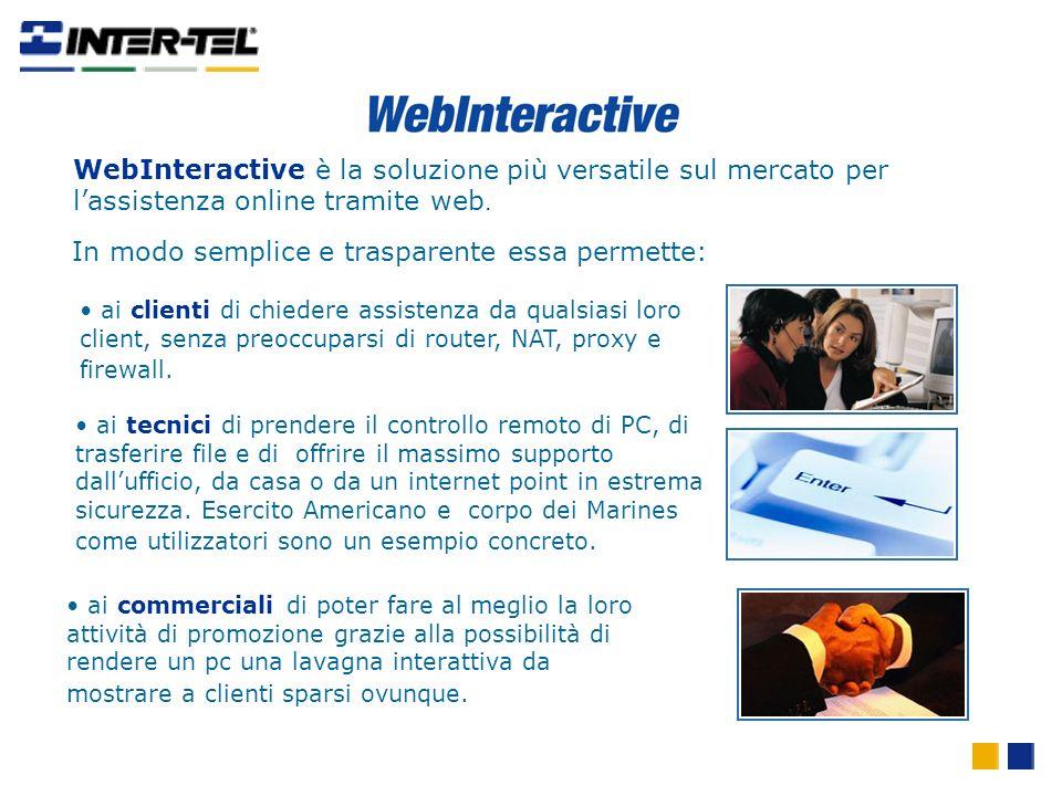 WebInteractive è la soluzione più versatile sul mercato per lassistenza online tramite web. ai clienti di chiedere assistenza da qualsiasi loro client
