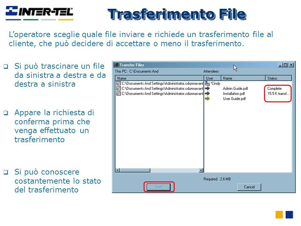 Trasferimento File Loperatore sceglie quale file inviare e richiede un trasferimento file al cliente, che può decidere di accettare o meno il trasferi