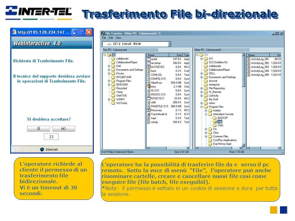 Loperatore richiede al cliente il permesso di un trasferimento file bidirezionale. Vi è un timeout di 30 secondi. Loperatore ha la possibilità di tras