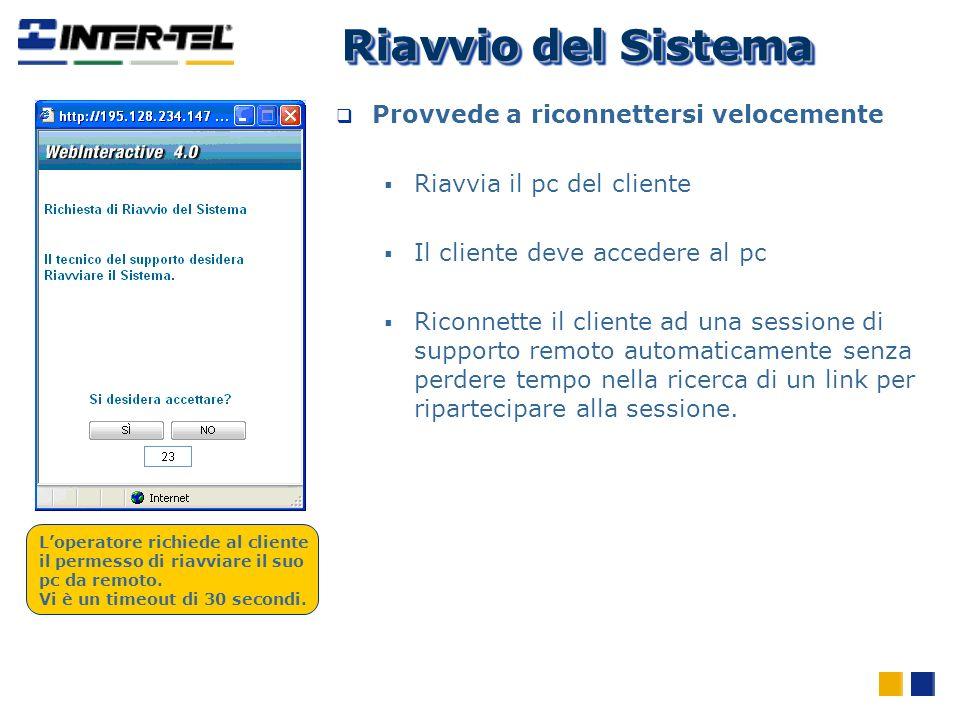 Provvede a riconnettersi velocemente Riavvia il pc del cliente Il cliente deve accedere al pc Riconnette il cliente ad una sessione di supporto remoto