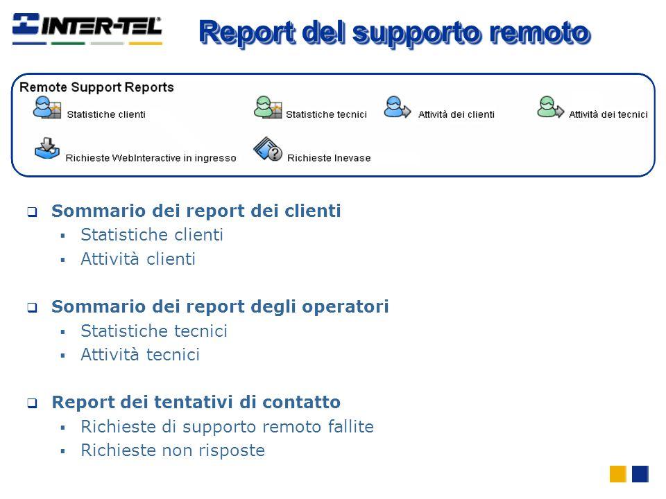 Sommario dei report dei clienti Statistiche clienti Attività clienti Sommario dei report degli operatori Statistiche tecnici Attività tecnici Report d