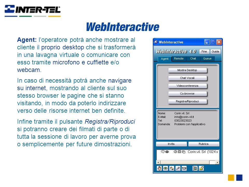 Agent: loperatore potrà anche mostrare al cliente il proprio desktop che si trasformerà in una lavagna virtuale o comunicare con esso tramite microfono e cuffiette e/o webcam.