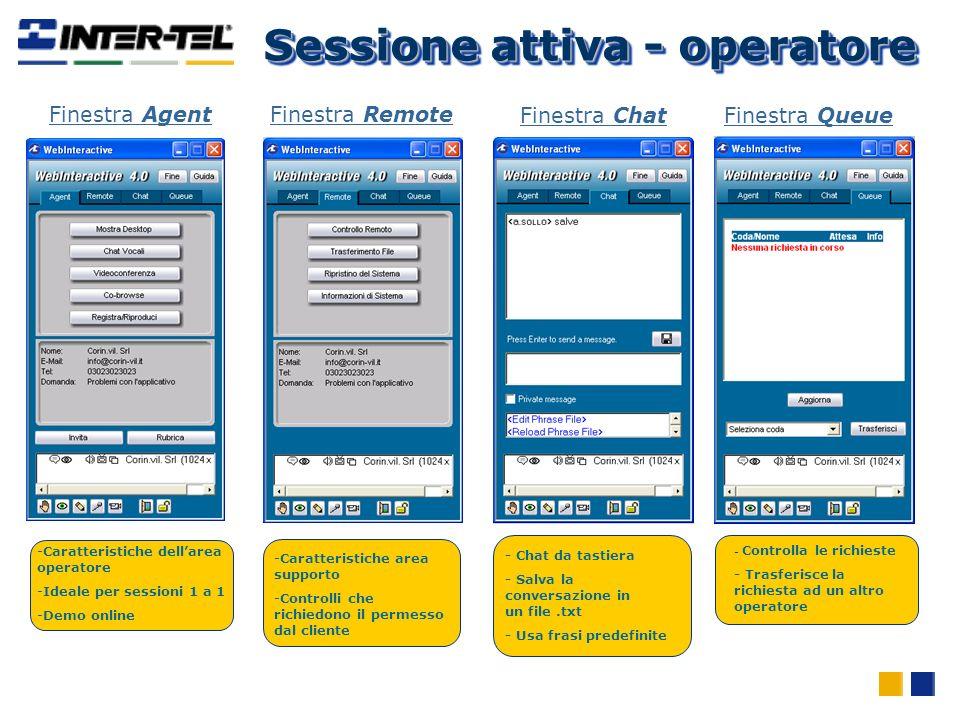 -Caratteristiche area supporto -Controlli che richiedono il permesso dal cliente Finestra Remote - Chat da tastiera - Salva la conversazione in un fil