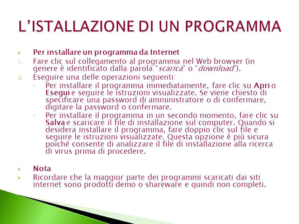 Per installare un programma da Internet 1.