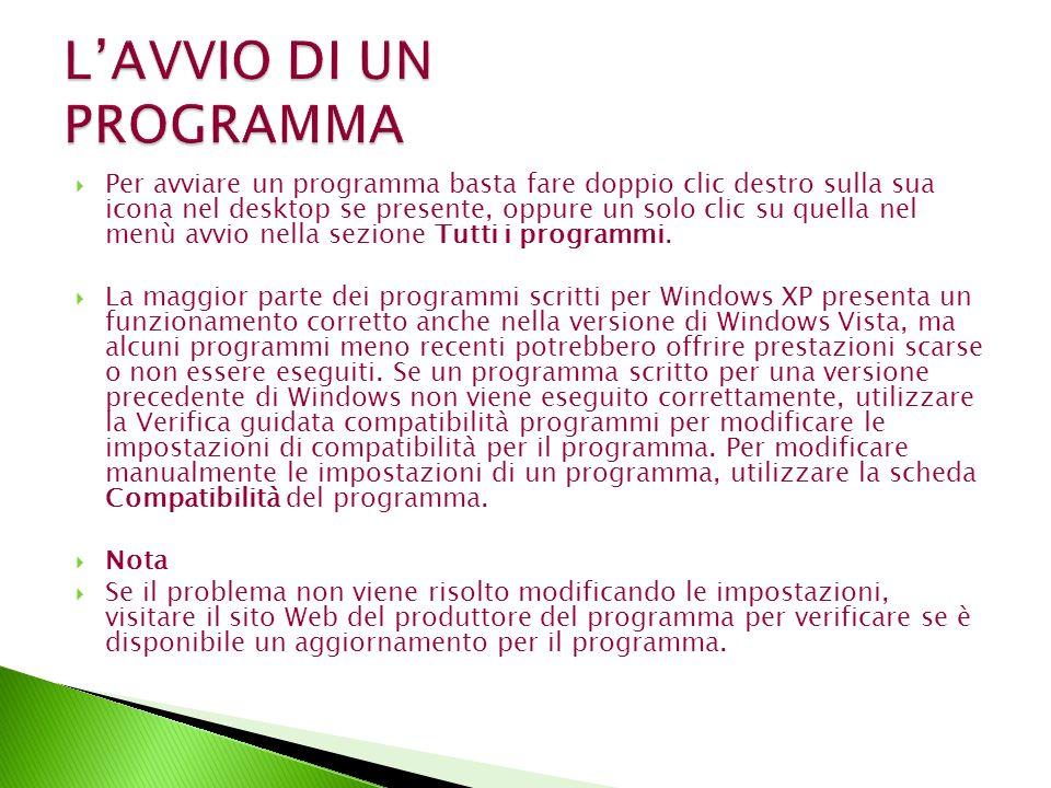 Per avviare un programma basta fare doppio clic destro sulla sua icona nel desktop se presente, oppure un solo clic su quella nel menù avvio nella sezione Tutti i programmi.