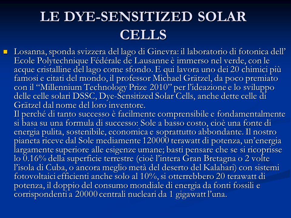 LE DYE-SENSITIZED SOLAR CELLS Losanna, sponda svizzera del lago di Ginevra: il laboratorio di fotonica dell Ecole Polytechnique Fédérale de Lausanne è