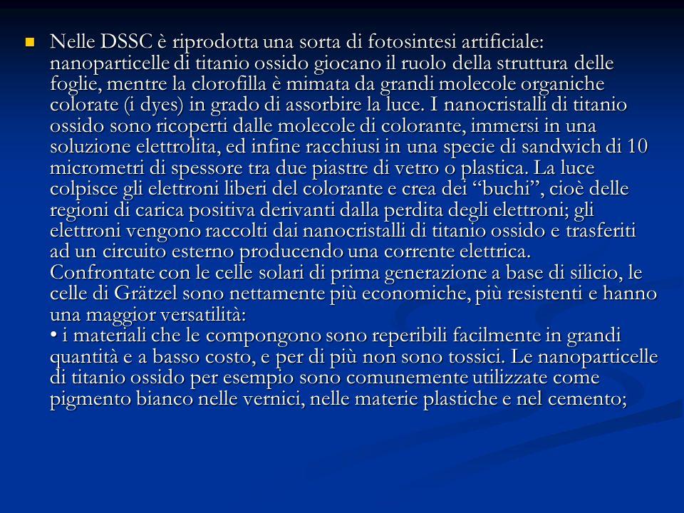 Nelle DSSC è riprodotta una sorta di fotosintesi artificiale: nanoparticelle di titanio ossido giocano il ruolo della struttura delle foglie, mentre l