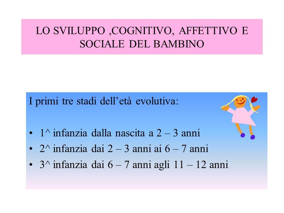 LO SVILUPPO,COGNITIVO, AFFETTIVO E SOCIALE DEL BAMBINO I primi tre stadi delletà evolutiva: 1^ infanzia dalla nascita a 2 – 3 anni 2^ infanzia dai 2 –