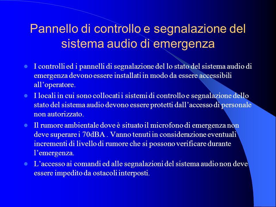 Comandi manuali I sistemi audio di categoria 4 (dotati di microfono di emergenza per chiamate di emergenza generali e/o selettive) devono essere dotat