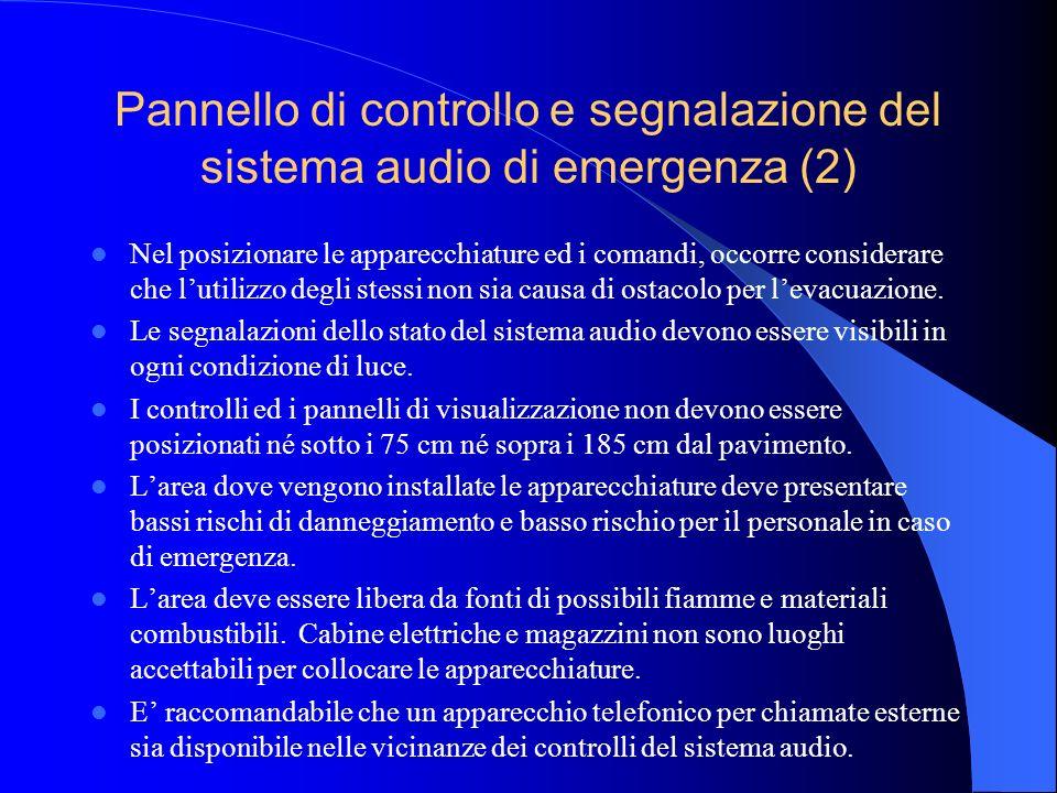 Pannello di controllo e segnalazione del sistema audio di emergenza I controlli ed i pannelli di segnalazione del lo stato del sistema audio di emergenza devono essere installati in modo da essere accessibili alloperatore.