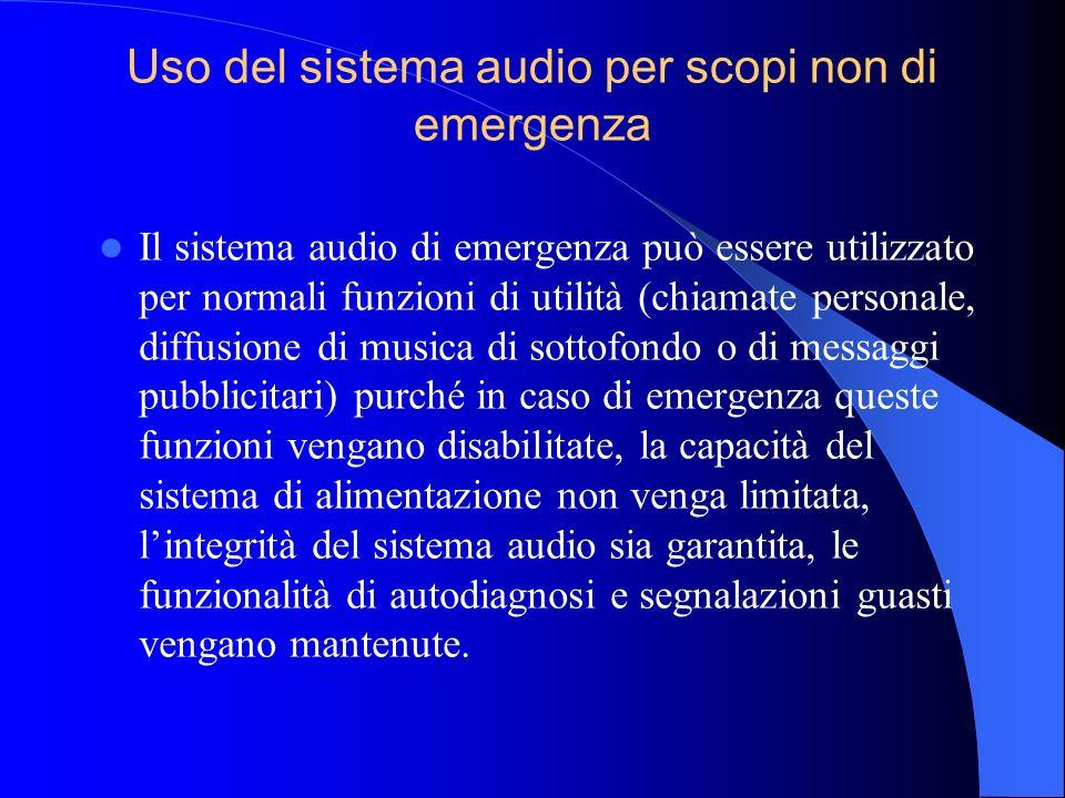 Interconnessione con sistemi di rilevazione incendi Il sistema audio di emergenza deve essere interconnesso con il sistema di rilevazioni incendi, qua