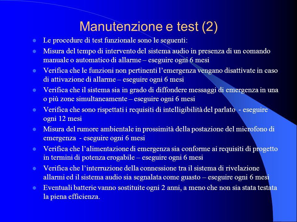 Manutenzione e test La manutenzione del sistema deve essere eseguita da personale qualificato.
