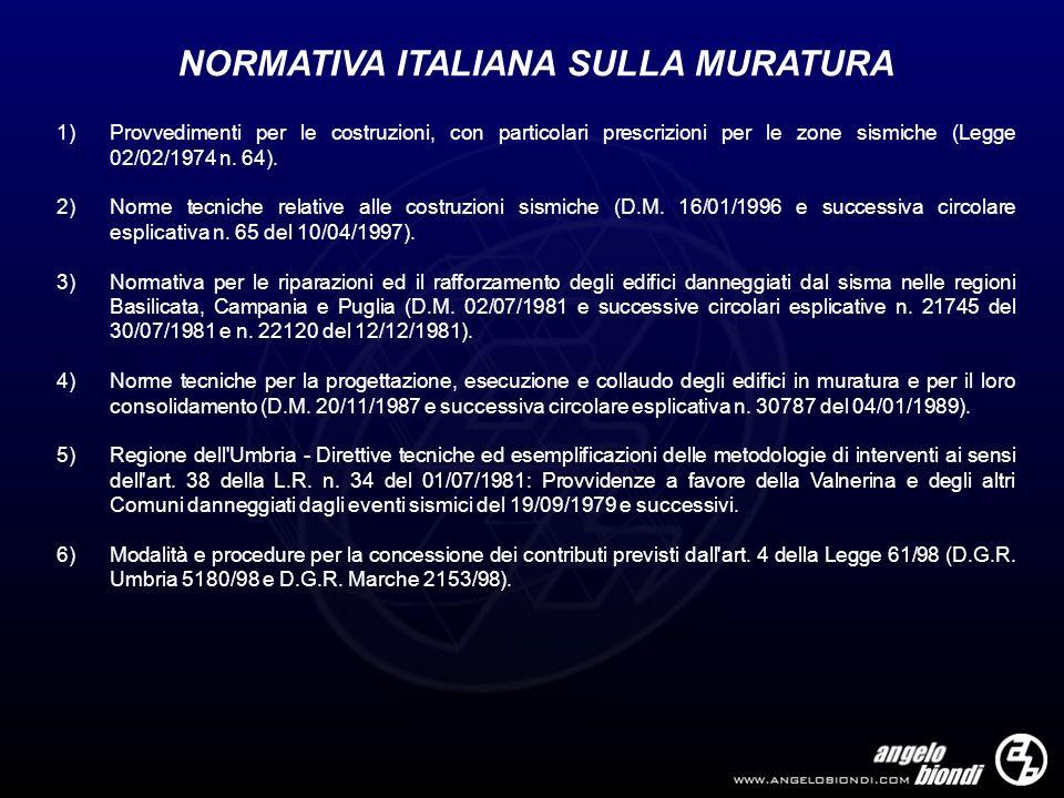 NORMATIVA ITALIANA SULLA MURATURA 1)Provvedimenti per le costruzioni, con particolari prescrizioni per le zone sismiche (Legge 02/02/1974 n. 64). 2)No