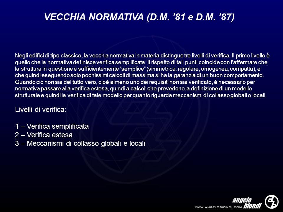 VECCHIA NORMATIVA (D.M. 81 e D.M. 87) Negli edifici di tipo classico, la vecchia normativa in materia distingue tre livelli di verifica. Il primo live