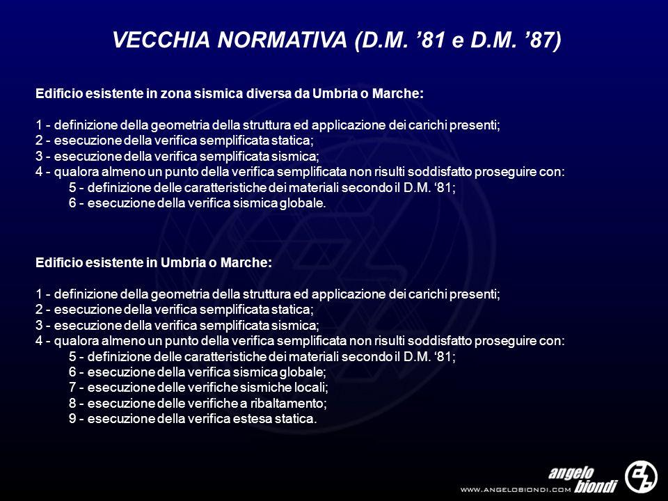 VECCHIA NORMATIVA (D.M. 81 e D.M. 87) Edificio esistente in zona sismica diversa da Umbria o Marche: 1 - definizione della geometria della struttura e