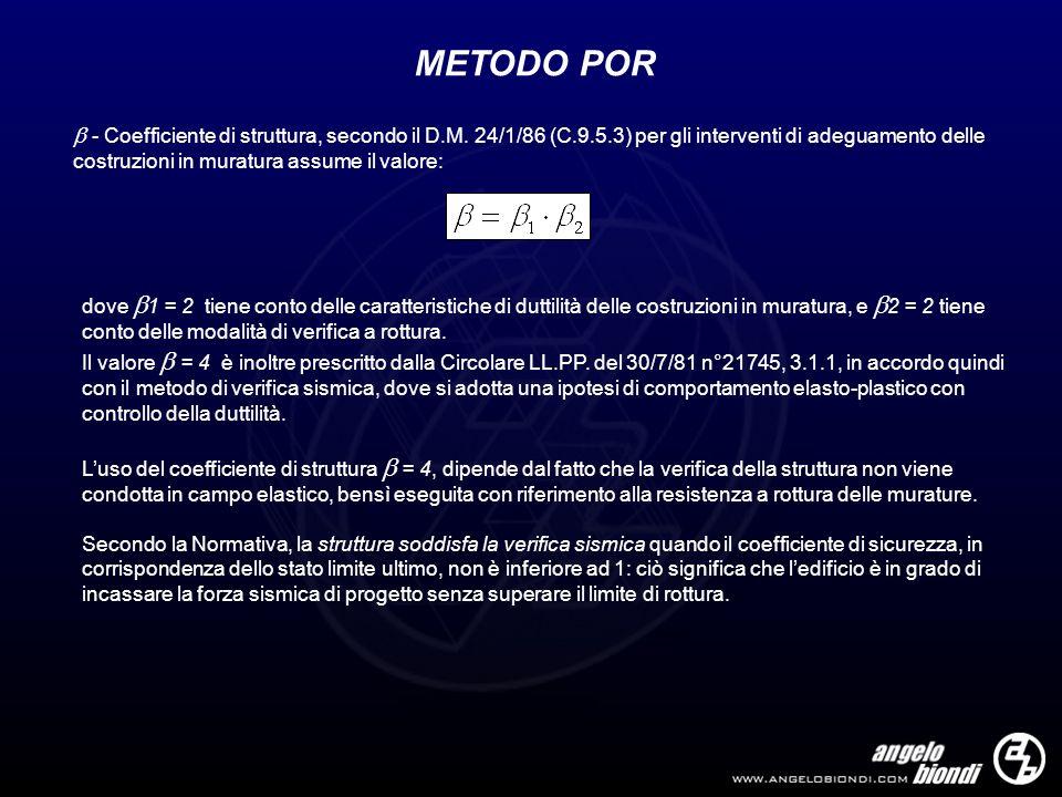 METODO POR - Coefficiente di struttura, secondo il D.M. 24/1/86 (C.9.5.3) per gli interventi di adeguamento delle costruzioni in muratura assume il va