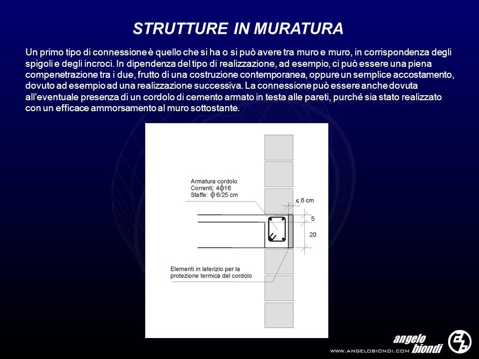 STRUTTURE IN MURATURA Un primo tipo di connessione è quello che si ha o si può avere tra muro e muro, in corrispondenza degli spigoli e degli incroci.