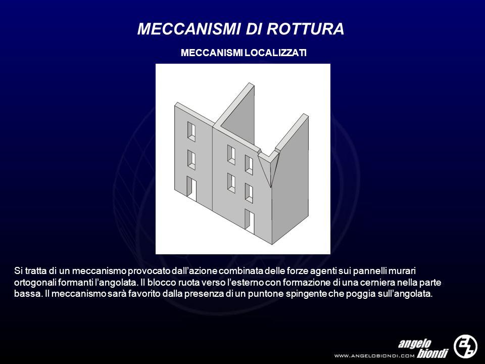 MECCANISMI DI ROTTURA Si tratta di un meccanismo provocato dallazione combinata delle forze agenti sui pannelli murari ortogonali formanti langolata.