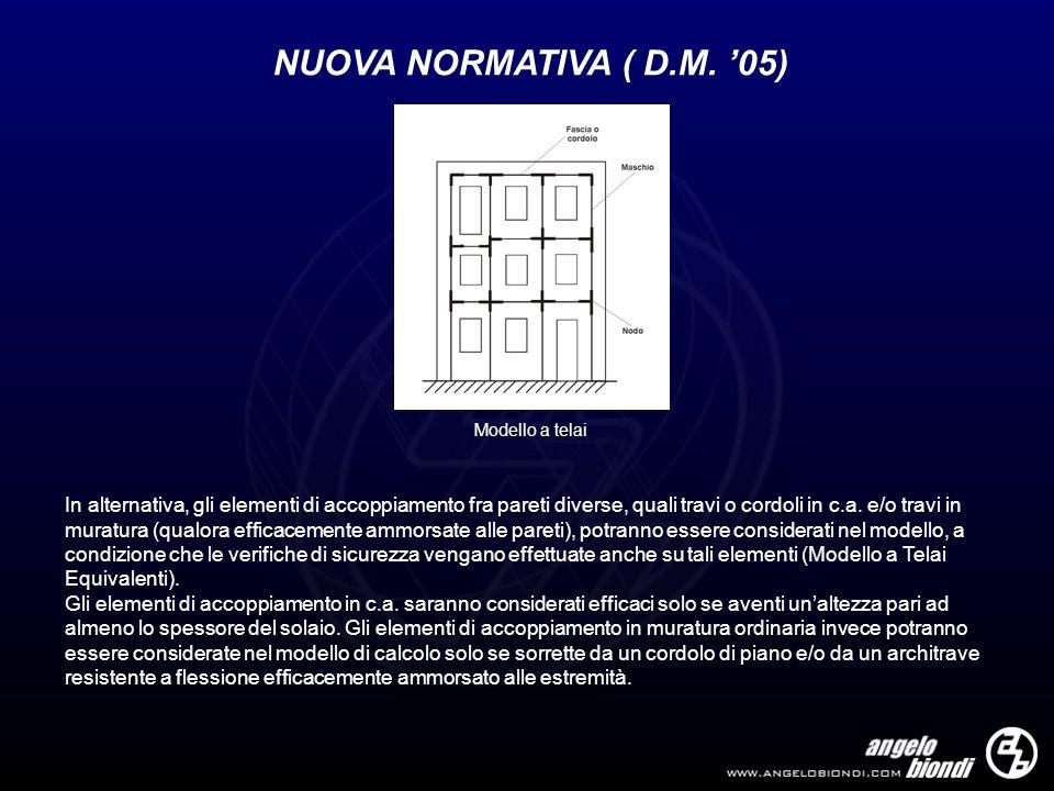 NUOVA NORMATIVA ( D.M. 05) In alternativa, gli elementi di accoppiamento fra pareti diverse, quali travi o cordoli in c.a. e/o travi in muratura (qual