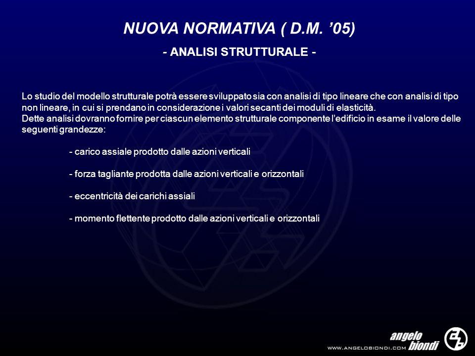 NUOVA NORMATIVA ( D.M. 05) - ANALISI STRUTTURALE - Lo studio del modello strutturale potrà essere sviluppato sia con analisi di tipo lineare che con a