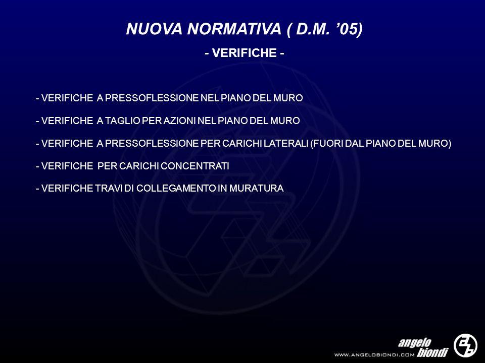 NUOVA NORMATIVA ( D.M. 05) - VERIFICHE - - VERIFICHE A PRESSOFLESSIONE NEL PIANO DEL MURO - VERIFICHE A TAGLIO PER AZIONI NEL PIANO DEL MURO - VERIFIC