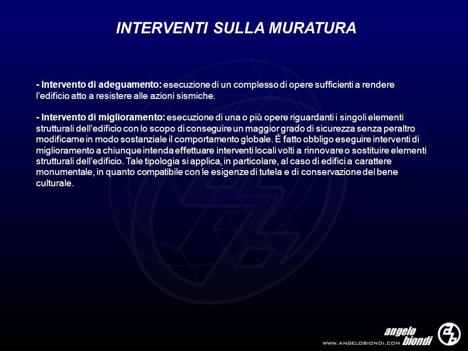 INTERVENTI SULLA MURATURA - Intervento di adeguamento: esecuzione di un complesso di opere sufficienti a rendere ledificio atto a resistere alle azion