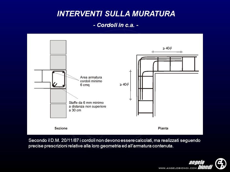 INTERVENTI SULLA MURATURA - Cordoli in c.a. - Secondo il D.M. 20/11/87 i cordoli non devono essere calcolati, ma realizzati seguendo precise prescrizi