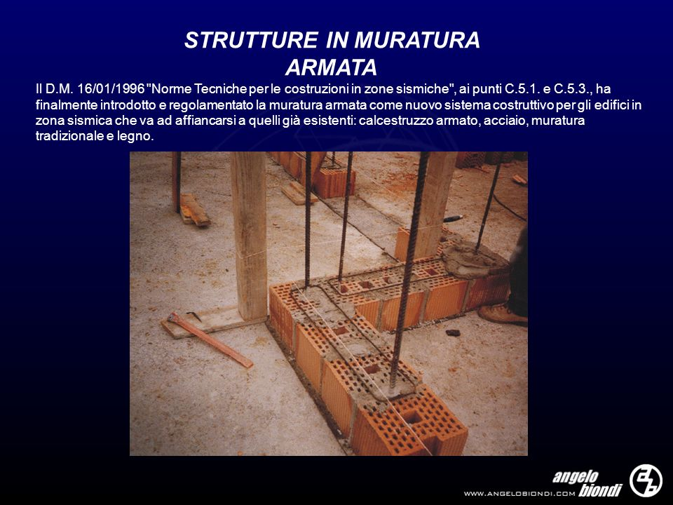 STRUTTURE IN MURATURA ARMATA Il D.M. 16/01/1996