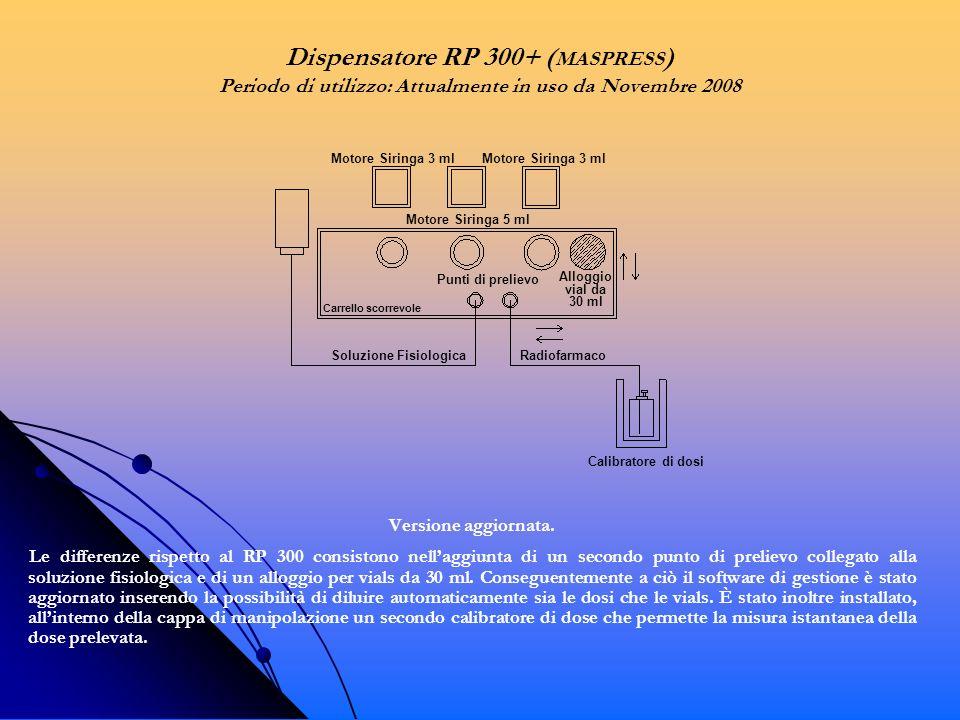 Versione aggiornata. Le differenze rispetto al RP 300 consistono nellaggiunta di un secondo punto di prelievo collegato alla soluzione fisiologica e d