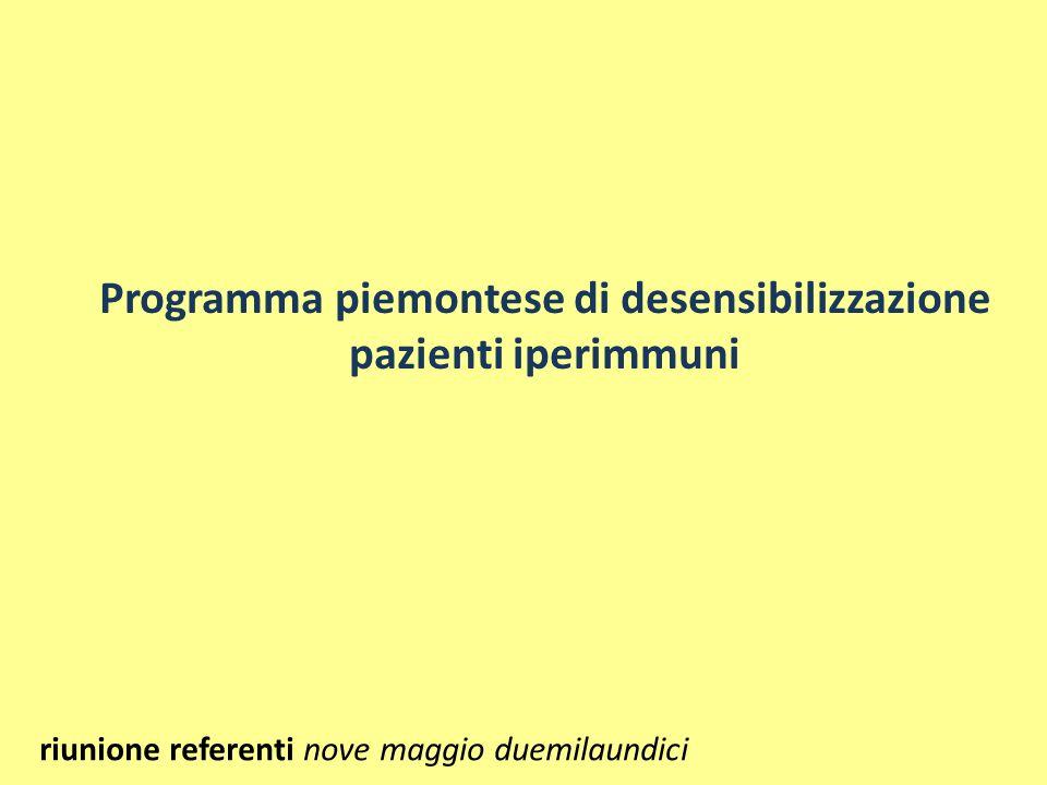 Programma piemontese di desensibilizzazione pazienti iperimmuni riunione referenti nove maggio duemilaundici