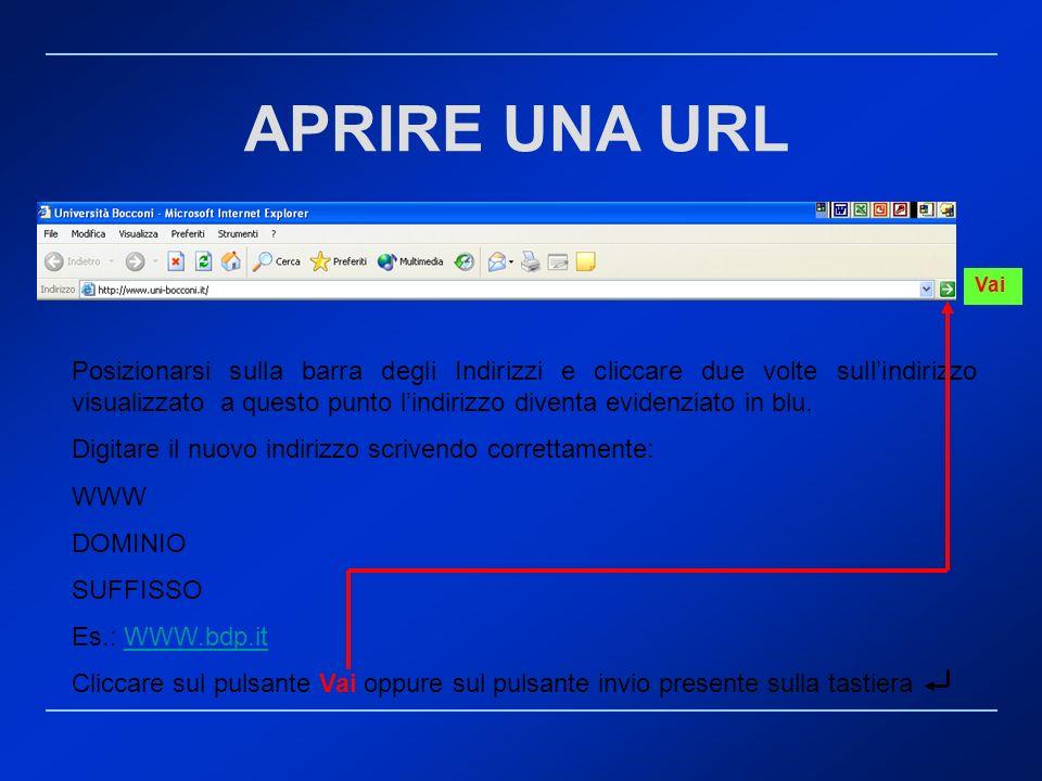 APRIRE UNA URL Posizionarsi sulla barra degli Indirizzi e cliccare due volte sullindirizzo visualizzato a questo punto lindirizzo diventa evidenziato