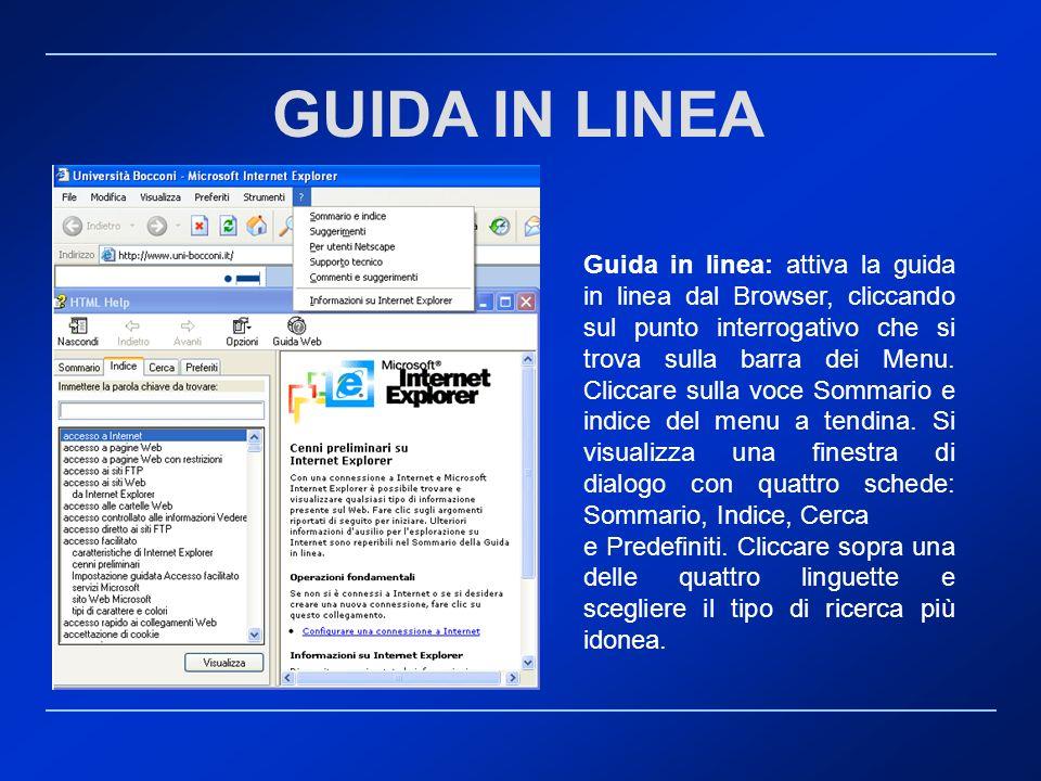 Guida in linea: attiva la guida in linea dal Browser, cliccando sul punto interrogativo che si trova sulla barra dei Menu. Cliccare sulla voce Sommari