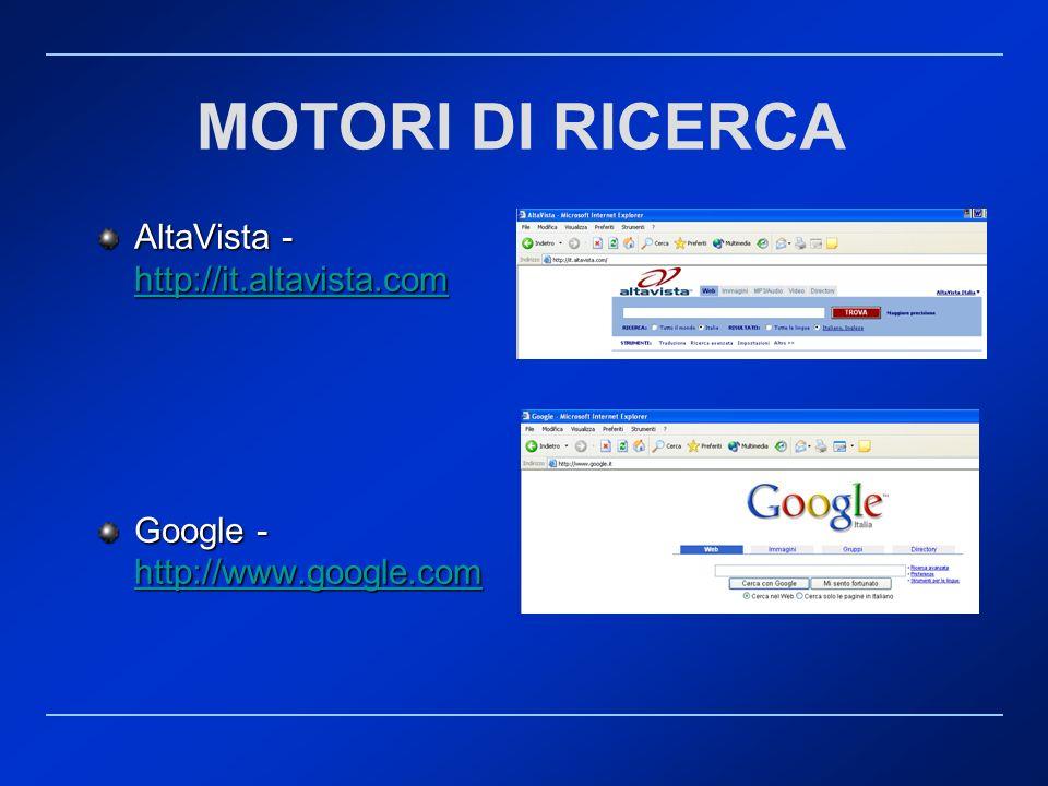 MOTORI DI RICERCA AltaVista - http://it.altavista.com http://it.altavista.com Google - http://www.google.com http://www.google.com