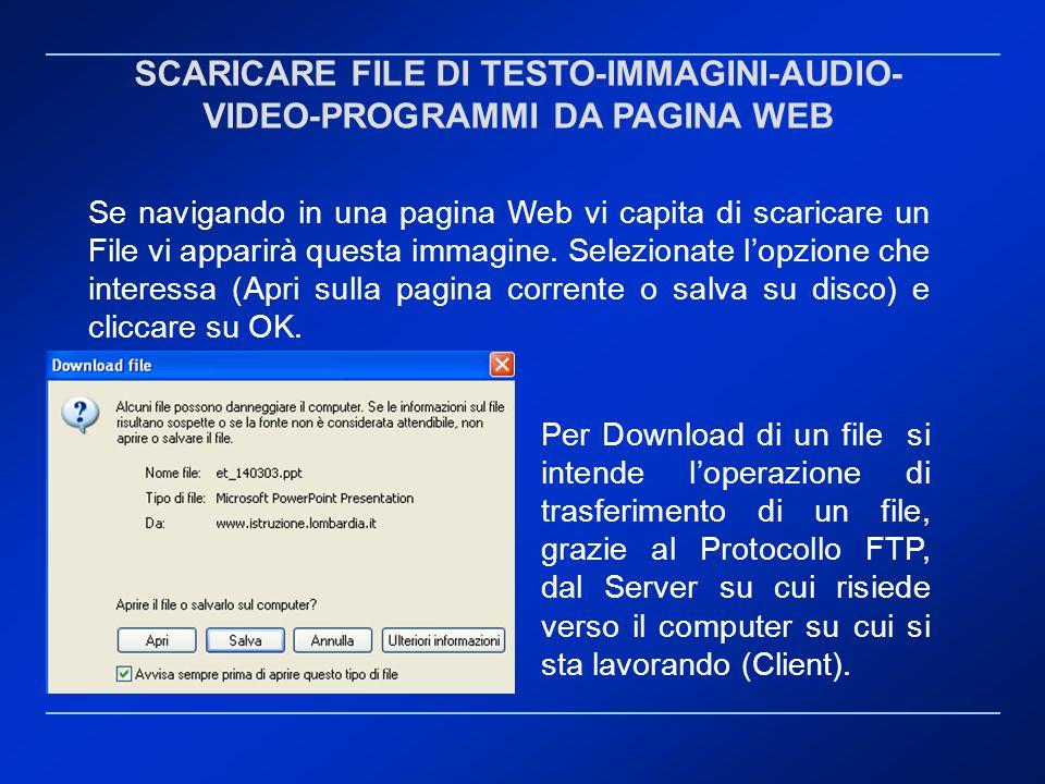 SCARICARE FILE DI TESTO-IMMAGINI-AUDIO- VIDEO-PROGRAMMI DA PAGINA WEB Per Download di un file si intende loperazione di trasferimento di un file, graz
