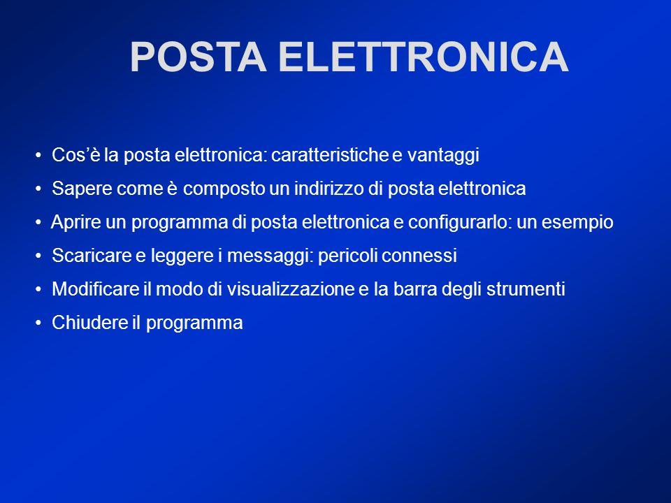 Cosè la posta elettronica: caratteristiche e vantaggi Sapere come è composto un indirizzo di posta elettronica Aprire un programma di posta elettronic