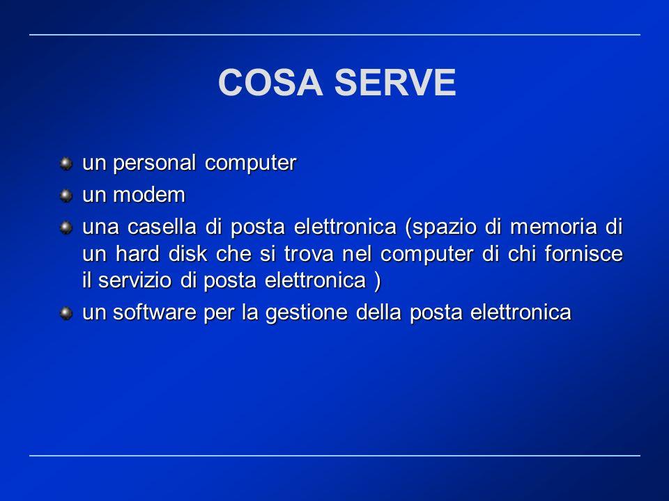 COSA SERVE un personal computer un modem una casella di posta elettronica (spazio di memoria di un hard disk che si trova nel computer di chi fornisce